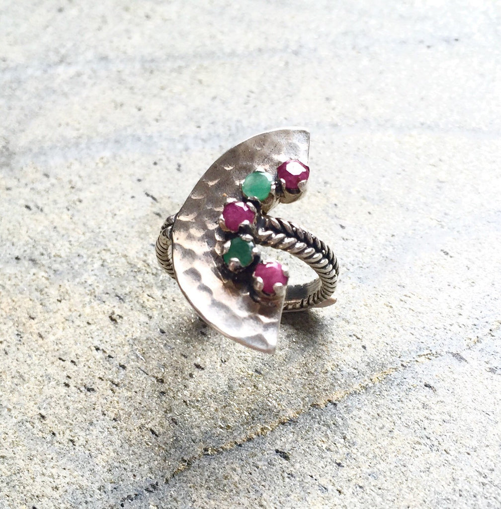 Emerald Ring, Ruby Ring, Natural Ruby Ring, Natural Emerald Ring, Mothers Birthstone Ring, May Birthstone, July Birthstone, Pure Silver