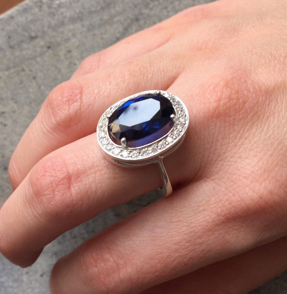 Royal Blue Ring, Sapphire Ring, Created Sapphire, Victorian Ring, Vintage Rings, Large Stone Ring, Blue Ring, Silver Ring, Sapphire