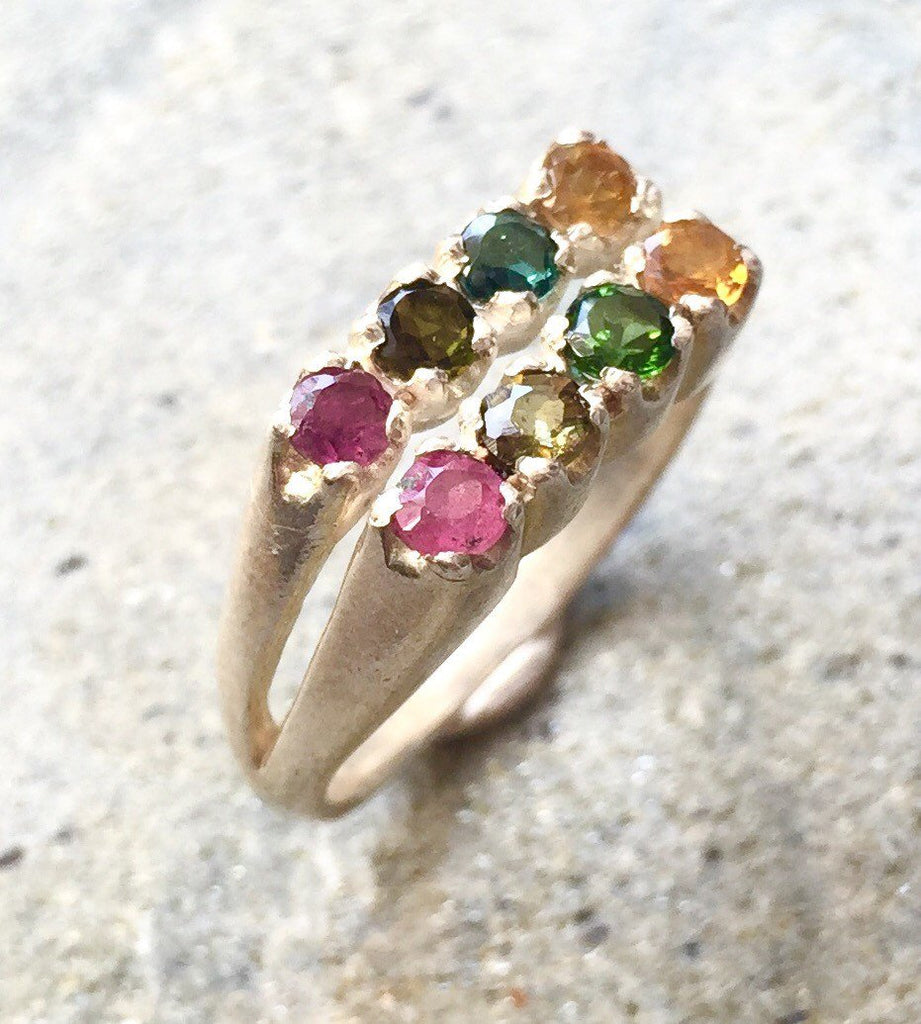 Multicolor Ring, Turmaline Ring, October Birthstone Ring, Mothers Birthstone Ring, Turmaline, Solid Silver Ring, Double Band, Colourful Gems