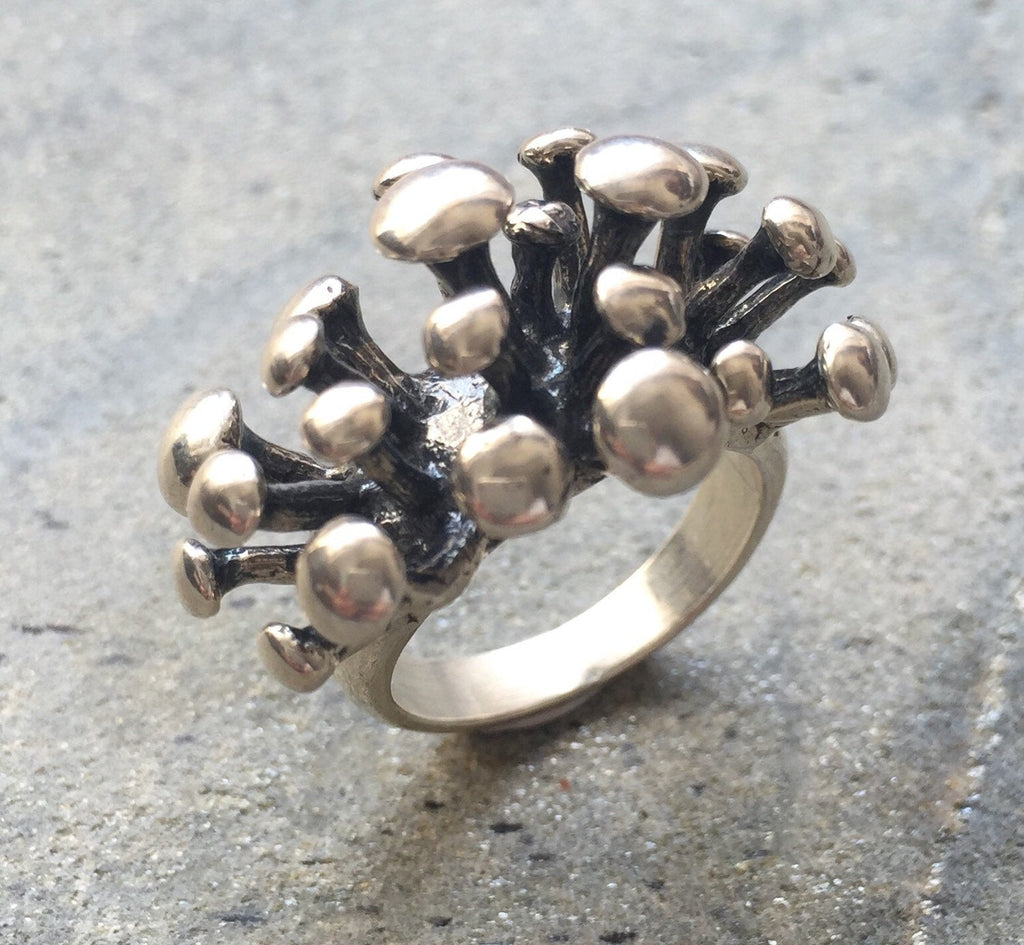 Statement Ring, Sterling Silver Ring, Mushroom Ring, Solid Silver Ring, Silver Statement Ring, 925 Silver Ring, Unique Silver Ring, 925