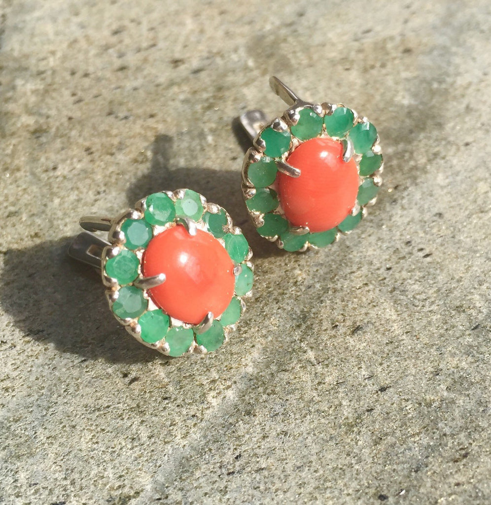 Emerald Earrings, Natural Emerald, Coral Earrings, Natural Coral, Vintage Emerald, Orange Coral, March Birthstone, May Birthstone, Silver