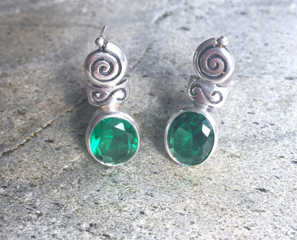 Emerald Earrings, Antique Earrings, Vintage Earrings, Antique Emerald, Green Earrings, Sterling Silver, Green Vintage, Solid Silver