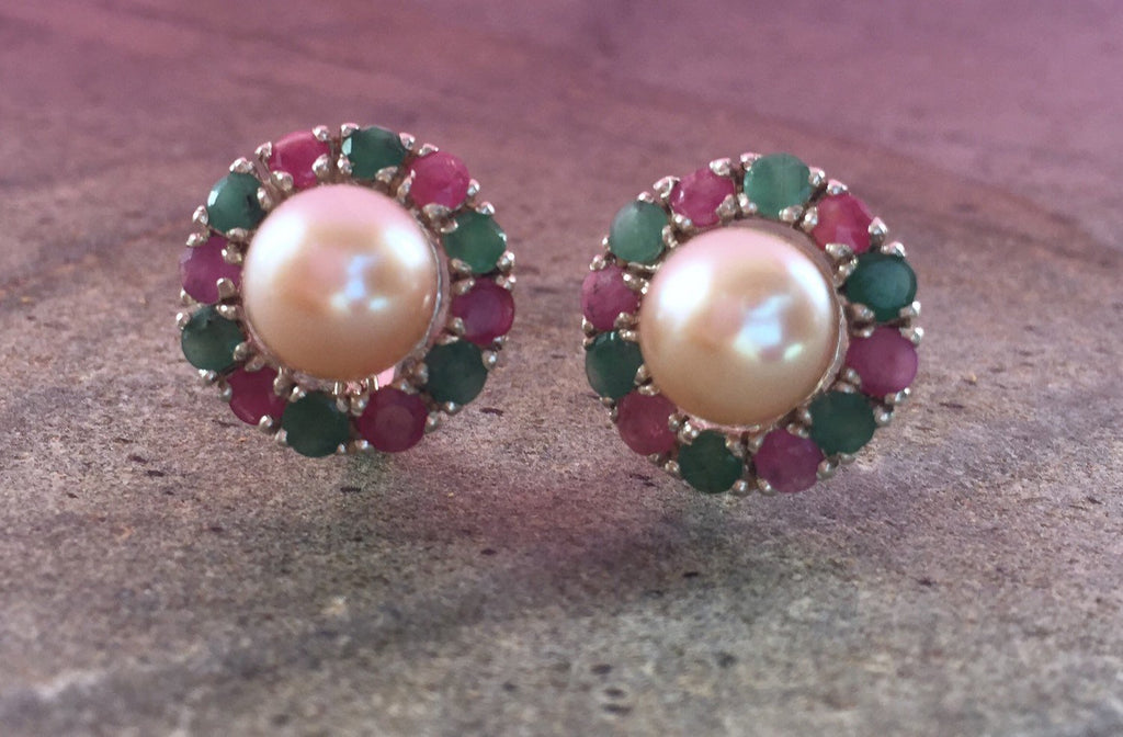 Pearl Earrings, Natural Pearl, Emerald Earrings, Vintage Earrings, Mothers Birthstone, Ruby Earrings, Vintage Emerald Ring, Cream Pearl