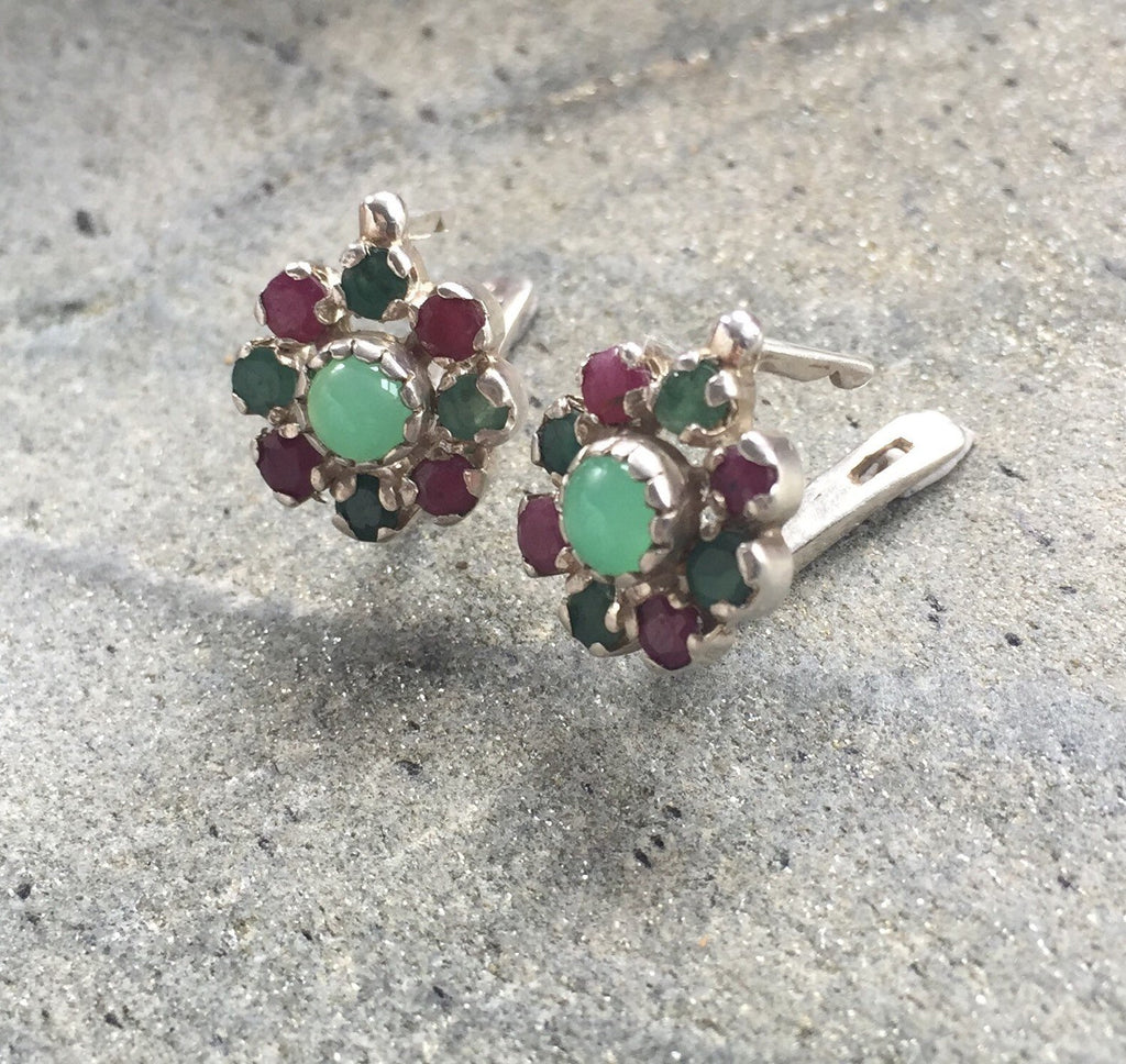 Flower Earrings, Emerald Earrings, Ruby Earrings, Chrysoprase Earrings, Natural Emerald, Natural Ruby, May Birthstone, July Birthstone
