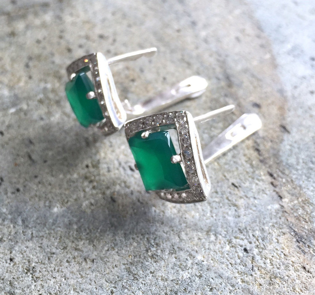 Emerald Earrings, Antique Earrings, Vintage Earrings, Antique Emerald, Sterling Silver Earrings, Green Vintage Earrings, Rhombus Shape