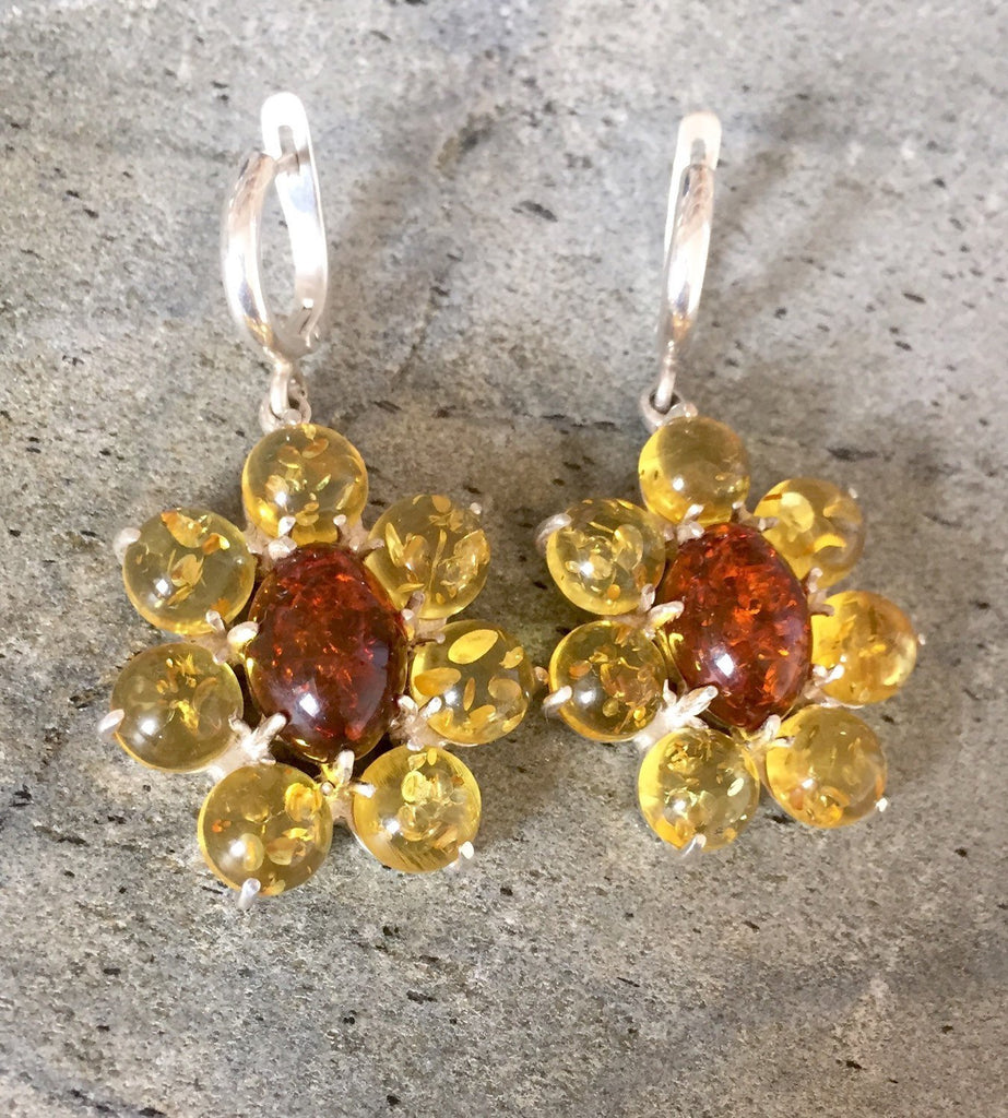 Amber Earrings, Natural Amber, Vintage Chandelier Earrings, Vintage Earrings, Yellow Stone, Yellow Gemstone, Healing Stones, Pure Silver