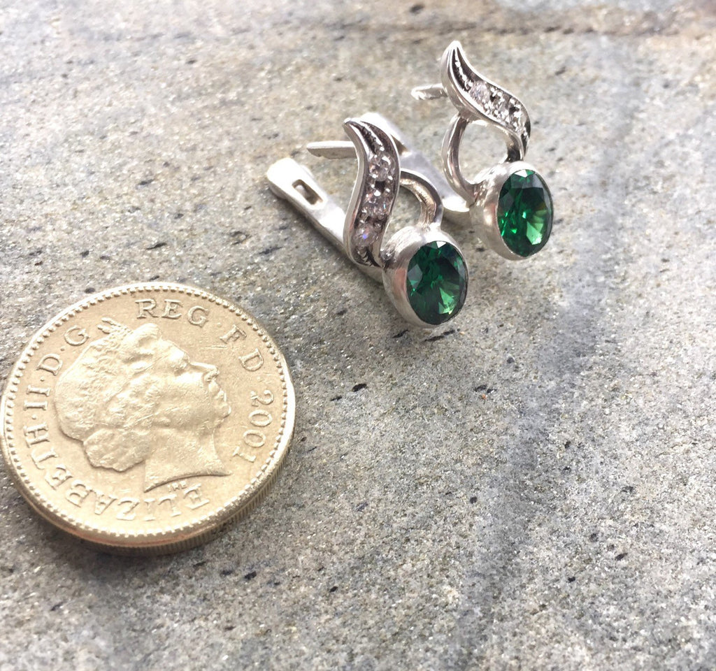 Emerald Earrings, Antique Earrings, Vintage Emerald Earrings, Antique Emerald Earrings, Sterling Silver Earrings, Solid Silver Earrings