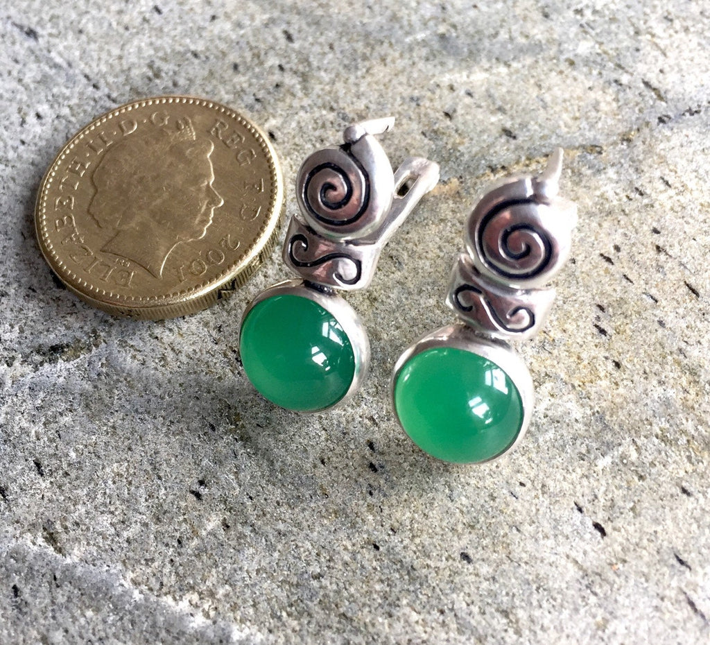 Emerald Earrings, Antique Earrings, Vintage Earrings, Antique Emerald Earrings, Sterling Silver Earrings, Green Vintage Earrings, Emerald
