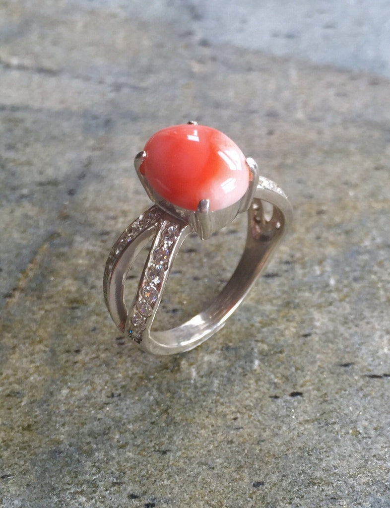 Coral Ring, Natural Coral, Angel Skin Coral, Solid Silver Ring, Italian Coral, Pure Silver, Promise Ring, Natural Stone, Sterling Silver