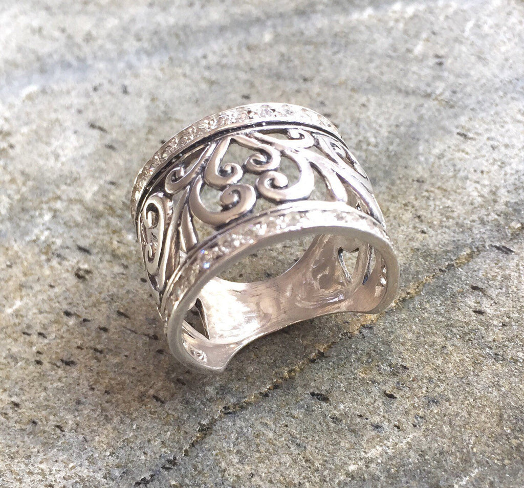 silver ring open size silver ring UK rings in London 925 Sterling Silver Ring flower ring silver ring for women