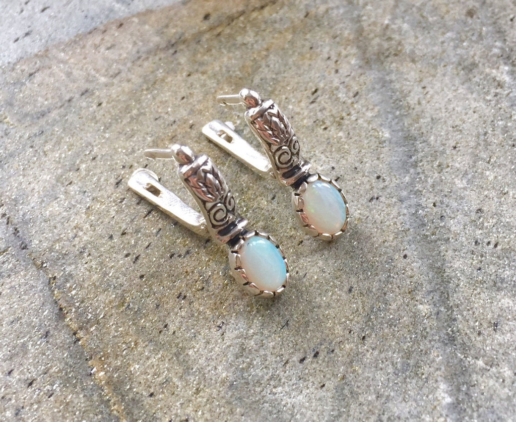 Opal Earrings, Natural Opal Earrings, Australian Opal, Natural Opal, Vintage Opal, Vintage Earrings, Solid Silver, Antique Earrings, Opal