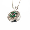 Emerald Flower Pendant, Natural Emerald, May Birthstone, Vintage Design, Solid Silver, Emerald, Ruby