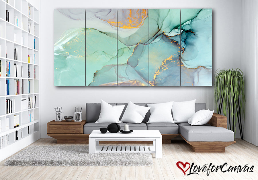 Green Abstract | Multi Panels Canvas