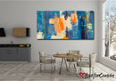 Blue Orange Abstract | Multi Panels Canvas