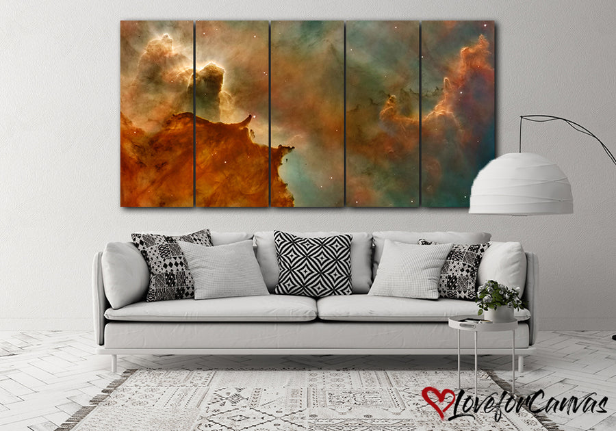 Orange Nebula | Space | Multi Panels Canvas