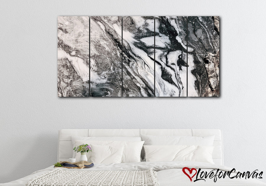 Black White Marble Abstract | Multi Panels Canvas