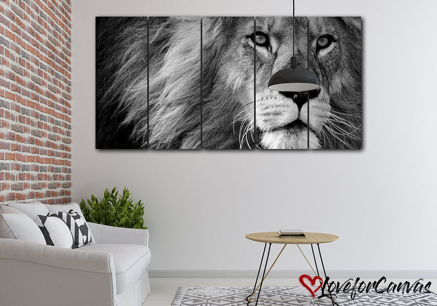 Lion - Monotone | Animal | Multi Panels Canvas