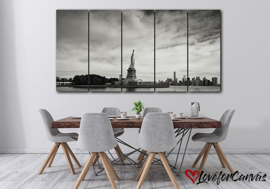 Statue Of Liberty Monotone | Patriotic | Multi Panels Canvas