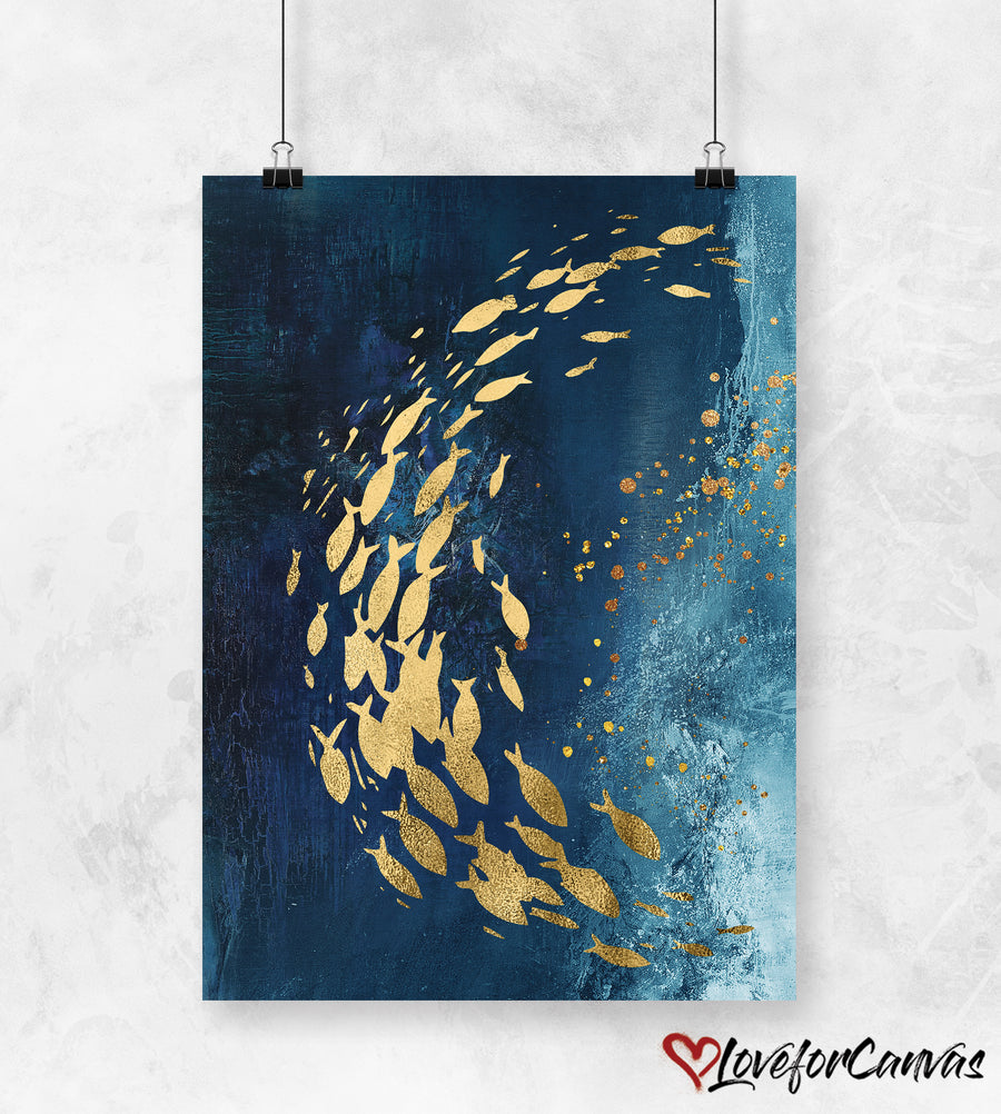 Golden Fish And Butterflies | Abstract | Canvas Print