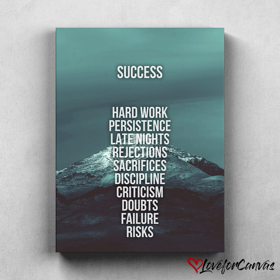 Success Mountain - Green | Motivational | Canvas Poster