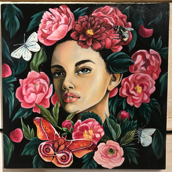 "ORIGINAL ""Peony Woman"" Oil Painting"