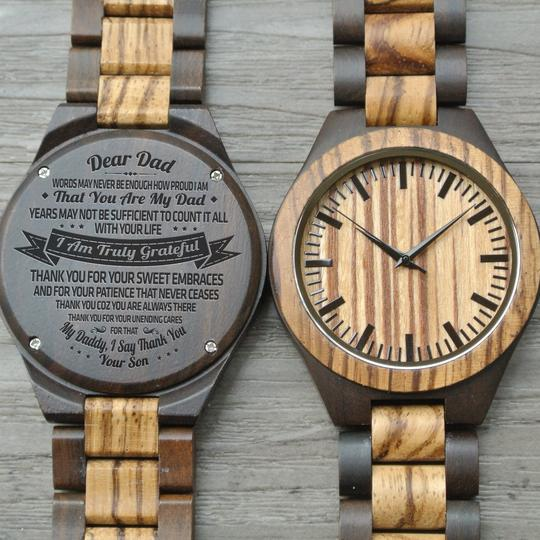 Engraved Zebrawood Wooden Watch - Gifts For Dad