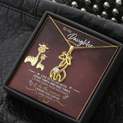 Christmas Graceful Love Giraffe Necklace Gift For Daughter with Message Card & Box