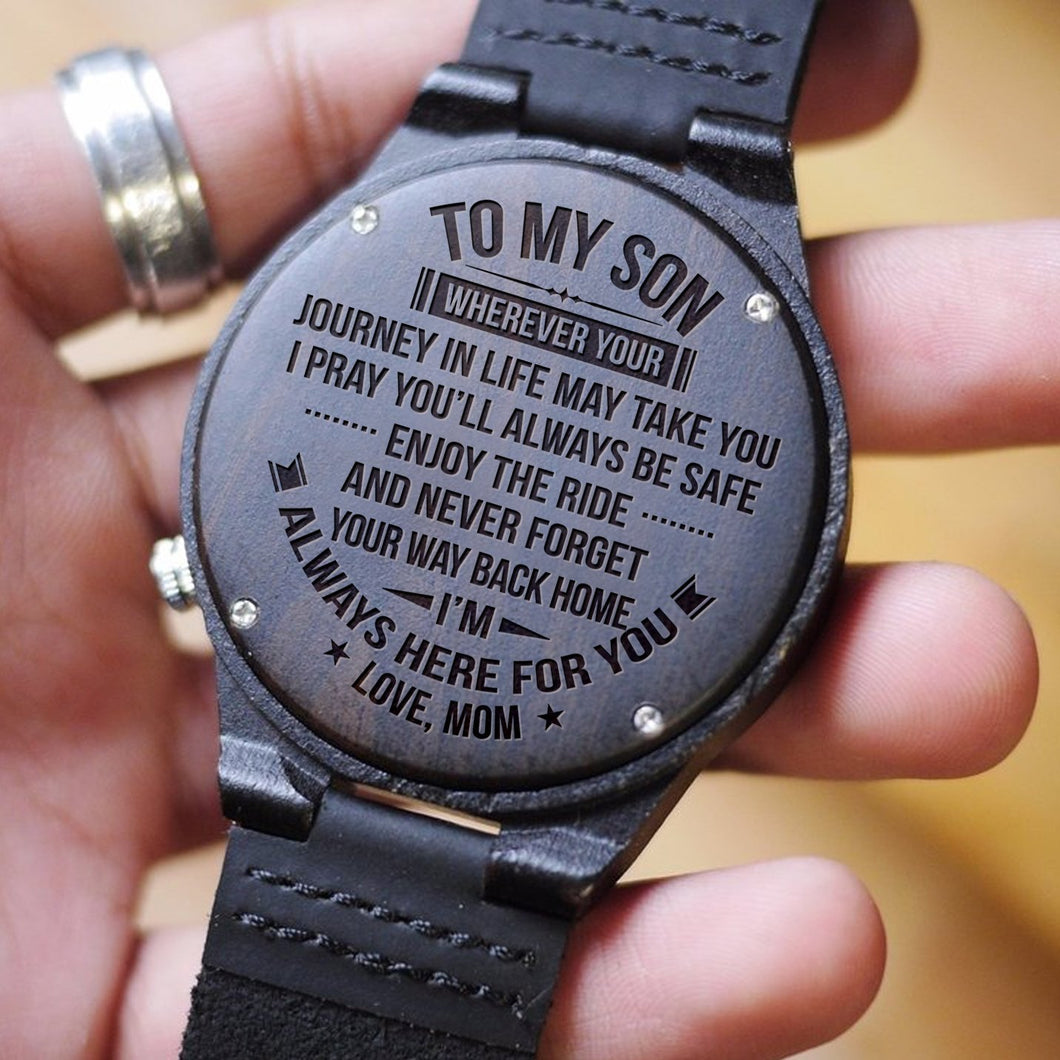 TO MY SON WOODEN WATCH - LOVE MOM/DAD