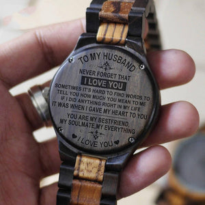 TO MY HUSBAND ENGRAVED WOODEN WATCH