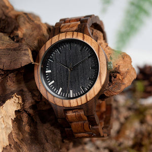 ENGRAVED WOODEN WATCH FOR YOUR HUSBAND/ ZEBRAWOOD + EBONY