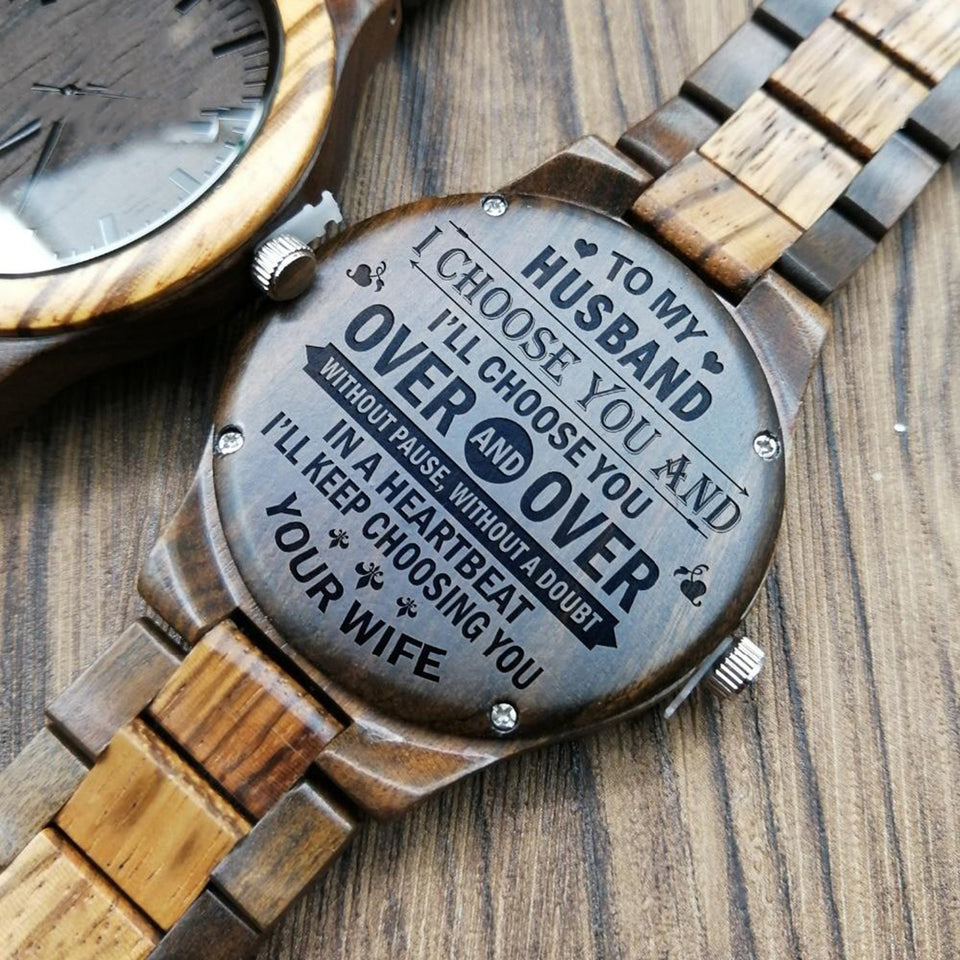 ENGRAVED WOODEN WATCH TO MY HUSBAND