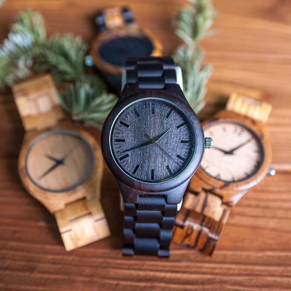 ENGRAVED WOODEN WATCH FOR MAN