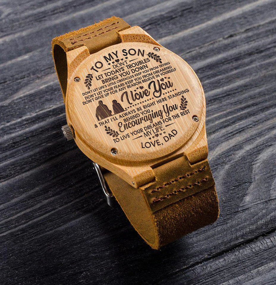 Great Gift For Son Engraved Wooden Watch - Love Dad