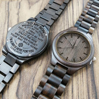 ENGRAVED WOODEN WATCH - MOM SON