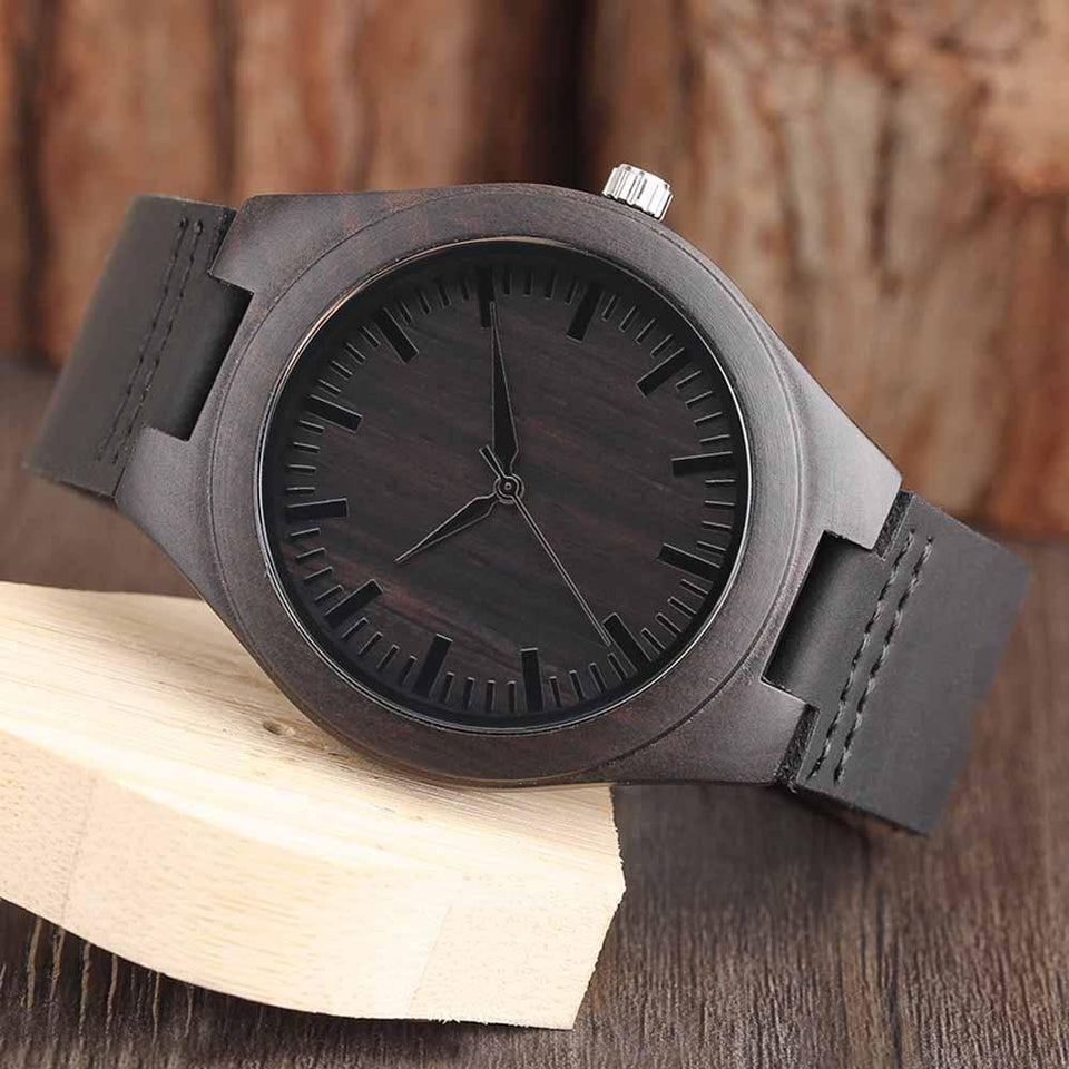 ENGRAVED WOODEN WATCH - GREAT GIFT FOR YOUR HUSBAND!