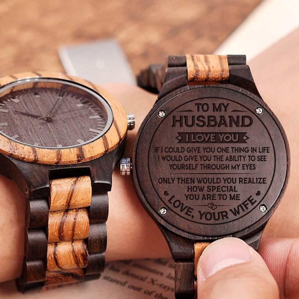 ENGRAVED WOODEN WATCH / ZEBRAWOOD + EBONY - GREAT GIFT