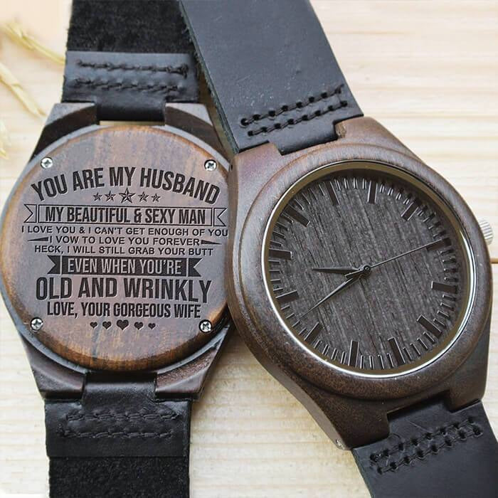 Great Engraving Wooden Watch Husband