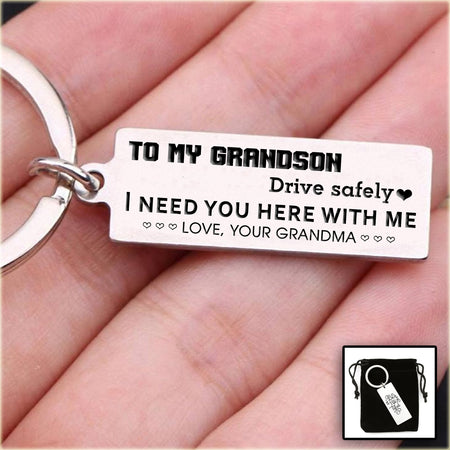 Engraved Keychain For GrandSon - Perfect Gift For GrandSon