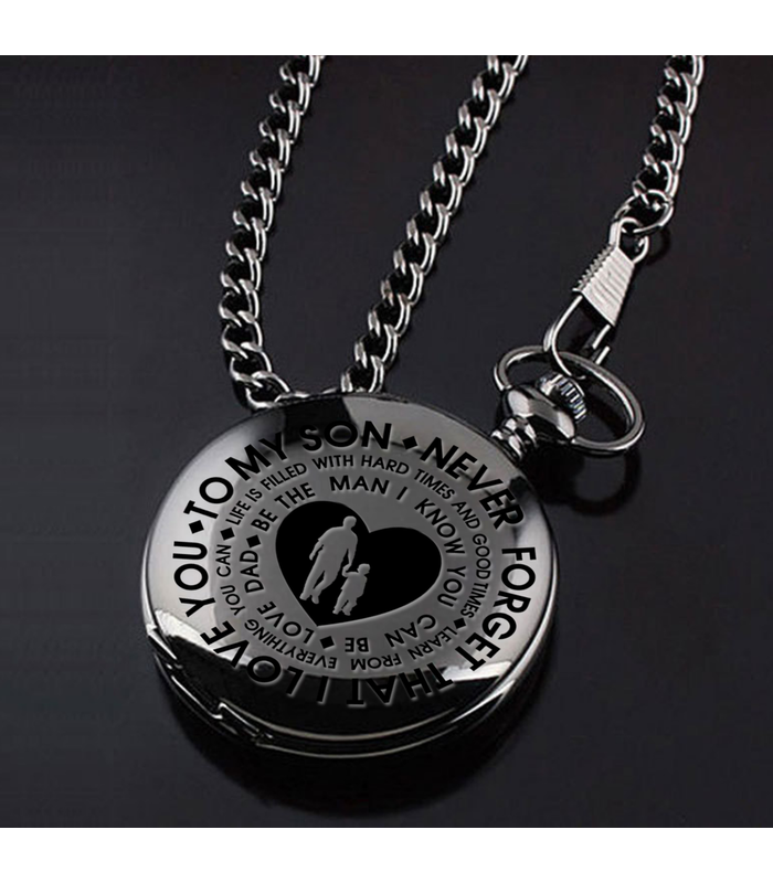 True Black Pocket Watch - Love Dad
