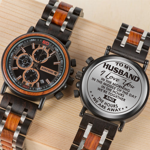 Engraved Wooden Watch - Great Gifts For Husband
