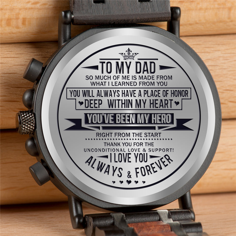 Engraved Wooden Watch - Great Gifts For Dad