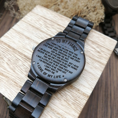 ENGRAVED WOODEN WATCH FOR FIANCÉ