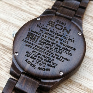 ENGRAVED WOODEN WATCH FOR SON