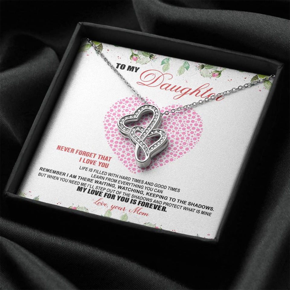 To My Daughter Double Hearts Necklace
