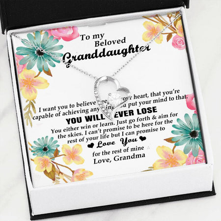 To My Beloved Granddaughter Necklace Gift - Gift For Granddaughter