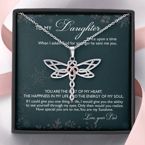 Gift For Daughter Dragonfly Necklace From Dad