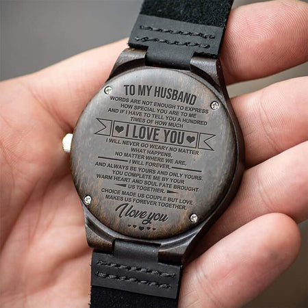 Engraving Wooden Watch Husband