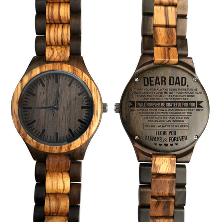 Engraved Full Wooden Watch - Great Gifts For Dad