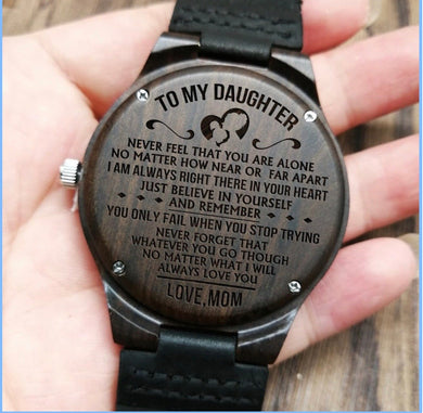 To My Daughter - Engraved Wooden Watch