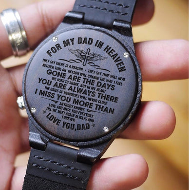 TO MY DAD- ENGRAVED WOODEN WATCH